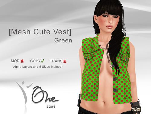 Mesh Cute Vest Green