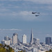 Three different eras over downtown San Francisco