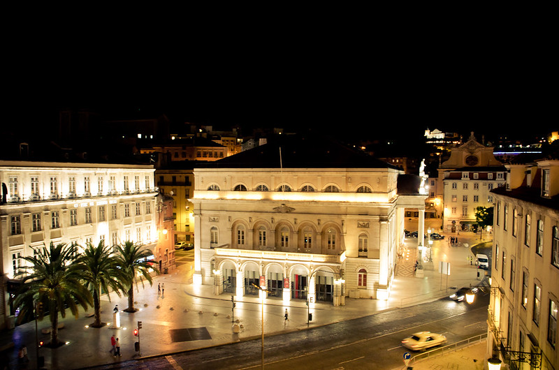 Teatro Nacional Dona Maria at night