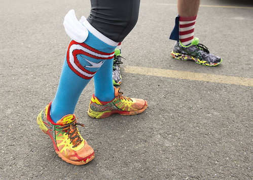 Brook Pollock and Indigo Merritt sport wings on their superhero socks at the start of Saturday's race.