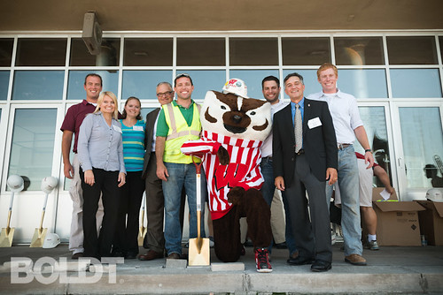 Boldt team and Bucky Badger at Memorial Union Reinvestment groundbreaking ceremony