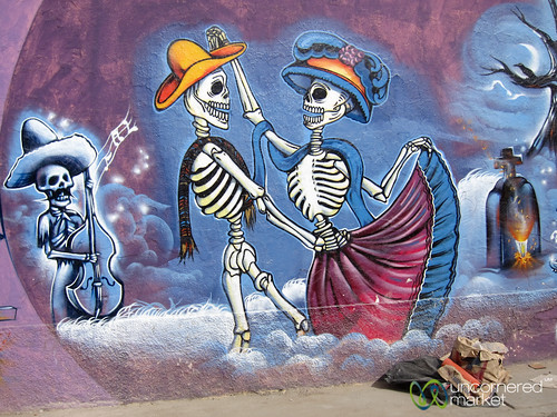 Dancing Skeletons, Oaxaca Street Art - Mexico