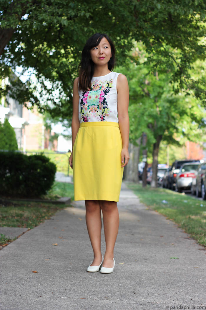floral tank and pencil skirt outfit
