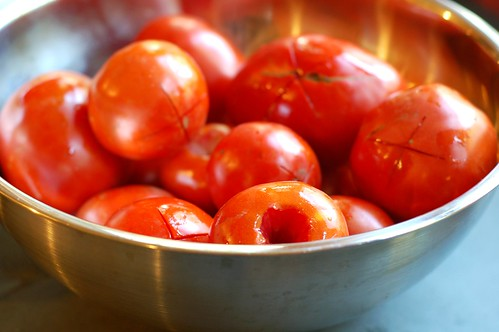 "Tomatoes are cored and scored with an ""X"" by Eve Fox, Garden of Eating blog, copyright 2012"