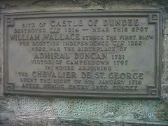 Photo of William Wallace, James Francis Edward Stuart, and Adam Duncan bronze plaque