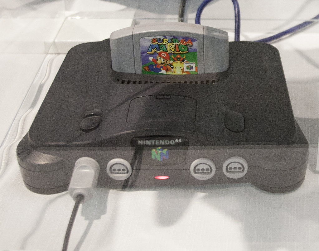 Nintendo 64 with a Mario 64 cartridge