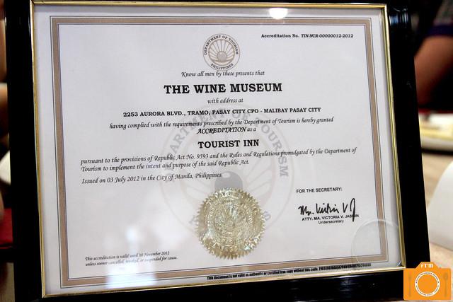 Wine Museum certificate