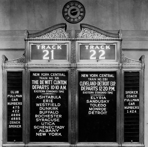 Terminal Tower schedule 1930