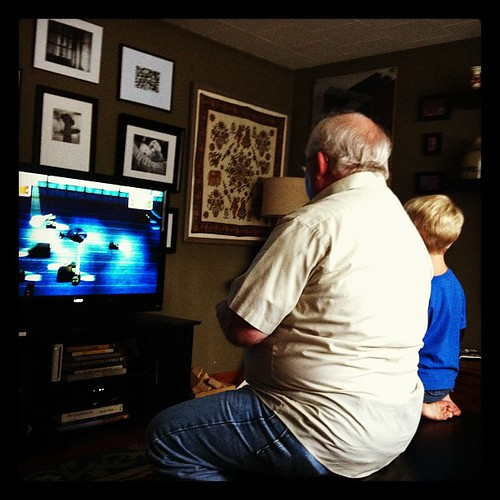 teaching g-pa to play the wii