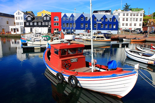blue houses sky colors port landscape boats islands boat colours view harbour faroe thorshavn torshavn tórshavn