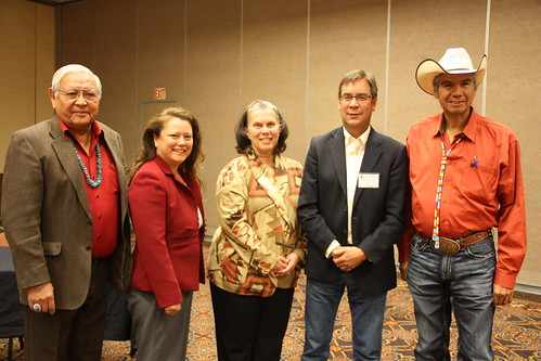 At the United Tribes Tribal Leaders Summit , Senior Advisor to Secretary Vilsack Janie Hipp meets with the Commission on Indian Trust Administration and Reform:  (Left to right)  Dr. Peterson Zah; Fawn Sharp; Janie Hipp; Robert Anderson; and Commissioner Tex Hall ,Tribal Chairman, Three Affiliated Tribes, North Dakota. Photo by Samantha Evenson, North Dakota USDA Public Information Coordinator