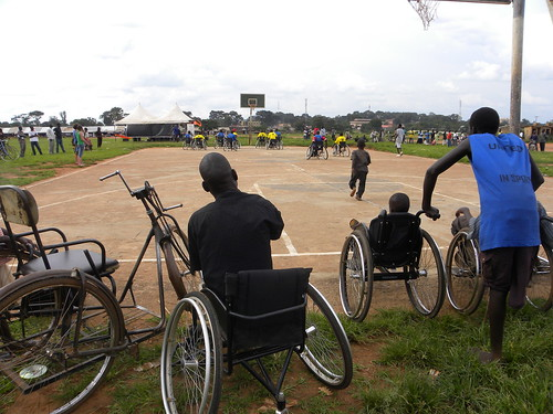 Geoffrey enjoying the game. Geoffrey like many other people with physical disabilities in northern Uganda use a hand-pedaled tricycle to get around