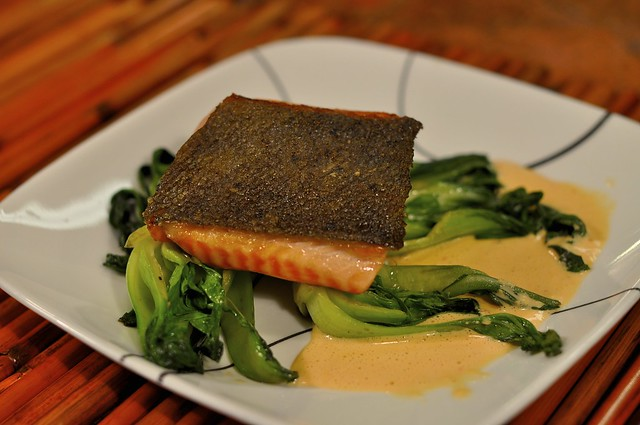 Pan Seared Salmon with Crispy Skin on Baby Bok Choy with R… | Flickr ...