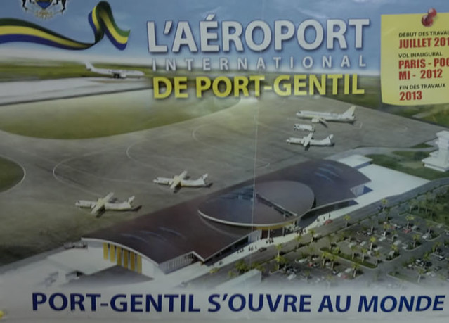 An ad for Paris - Port Gentil flights from the planned new airport