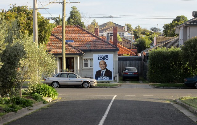 Local council election billboard
