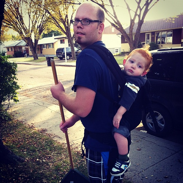 Raking leaves with a baby on your back? Now that's a workout.