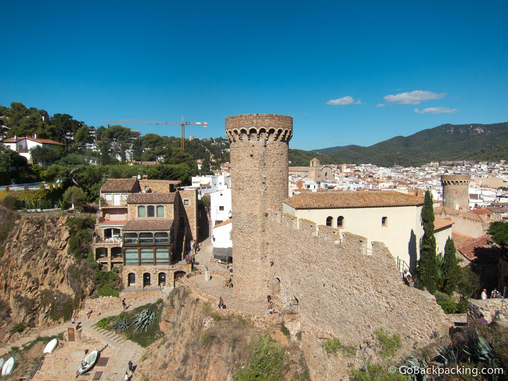 Looking past the 13th-century Vila Vella Ramparts toward the town of Tossa de Mar