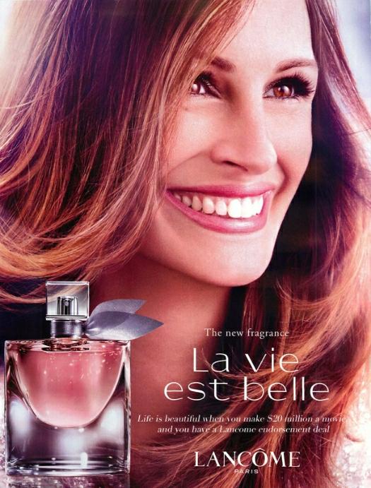 La vie est belle Lancome  Julia Roberts Ad