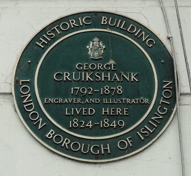 Photo of George Cruikshank green plaque