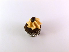 "Mocha cupcake swirled with espresso buttercream and a chocolate covered espresso bean.  The perfect ""pick-me-up"" treat!"