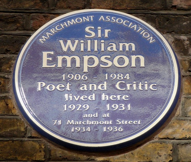 William Empson blue plaque - Sir William Empson 1906-1984 poet and critic lived here 1929-1931 and at 71 Marchmont Street 1934-1936