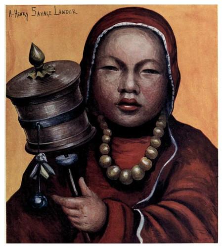 019-Un niño aprendiendo a orar-Tibet & Nepal-1905-A. H. Savage-Landor
