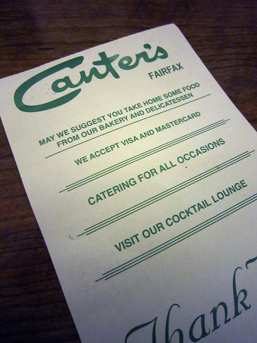 Canter's Deli Cheque