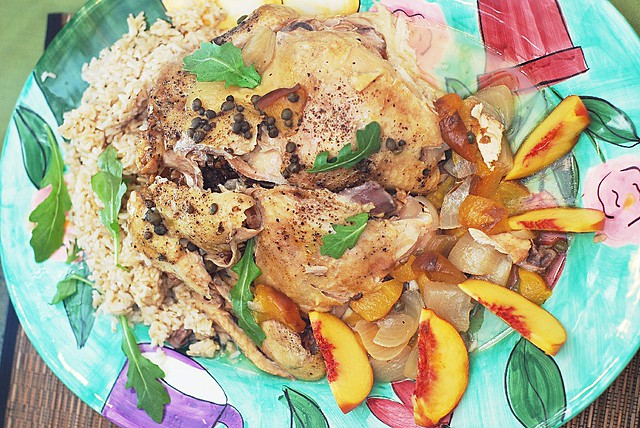 slow cooker chicken with rice, capers, peaches, wine, crock pot