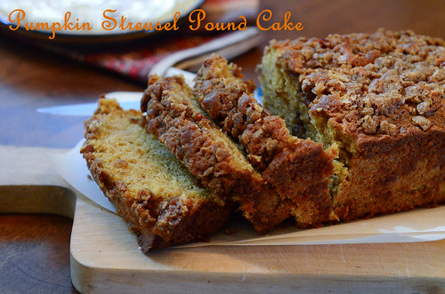 Pumpkin Streusel Pound Cake cut into slices on a cutting board.