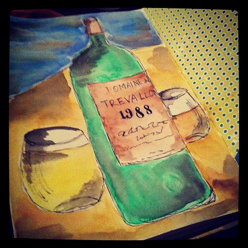This pretty much sums up my day. Drinking really great wine & painting pictures of it.