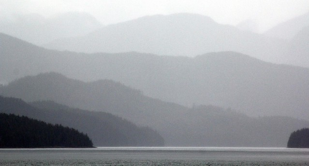 Alaska Inside Passage pastel shades of grey landscape - Alaska Marine Highway ferry, MV Columbia