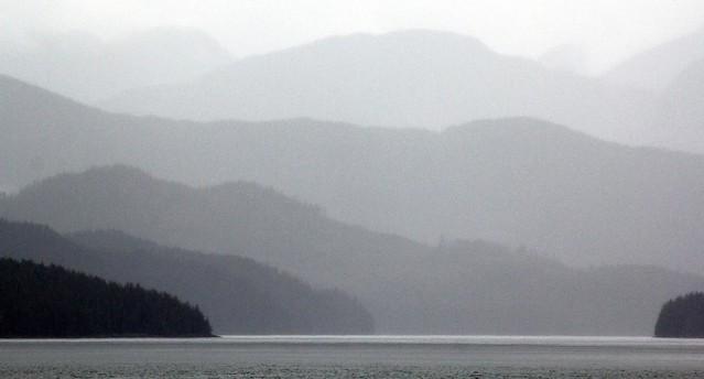 Alaska Inside Passage pastel shades of grey landscape - Alaska Marine Highway ferry, MV Columbia