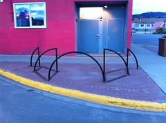 Bike racks in front of the CBC building. Look closely.