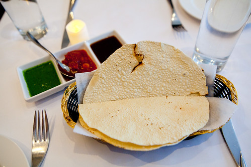 Papadum with a trio of chutneys and dips