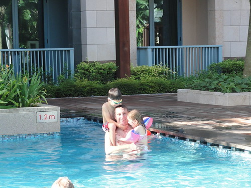 Playing with the kids in the hotel pool on Sentosa island