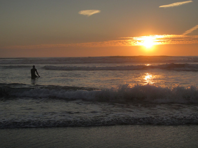 Surfer at Sunset; Ocean Beach, San Francisco