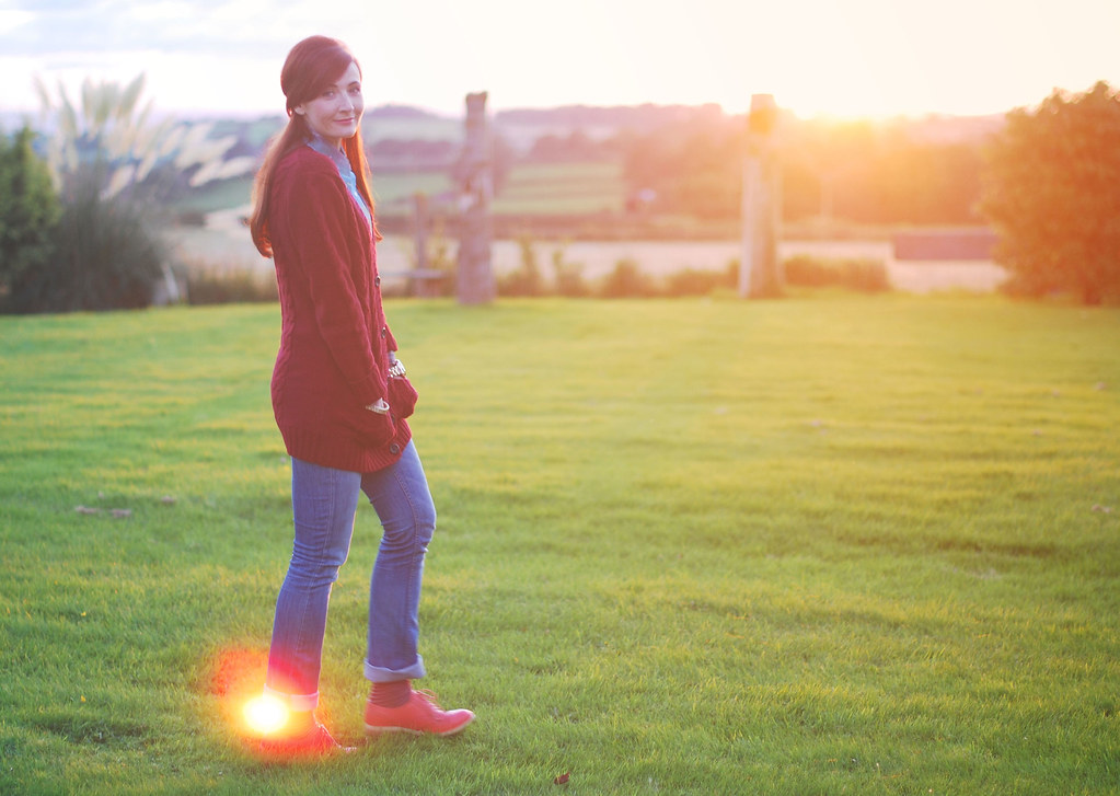 Cosy Oxblood Cable Knit at Sunset