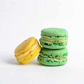 Yellow and green macarons