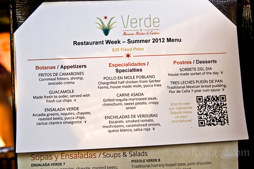 Summer 2012 Restaurant Week Menu at Verde
