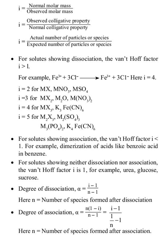 Class 12 Chemistry Notes Solutions - Van't Hoff Factor