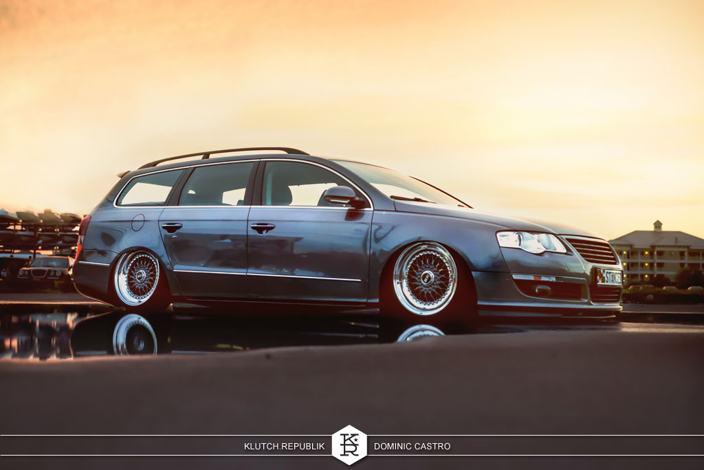 grey vw passat bss rs at h2oI 2012 3pc wheels static airride low slammed coilovers stance stanced hellaflush poke tuck negative postive camber fitment fitted tire stretch laid out hard parked seen on klutch republik