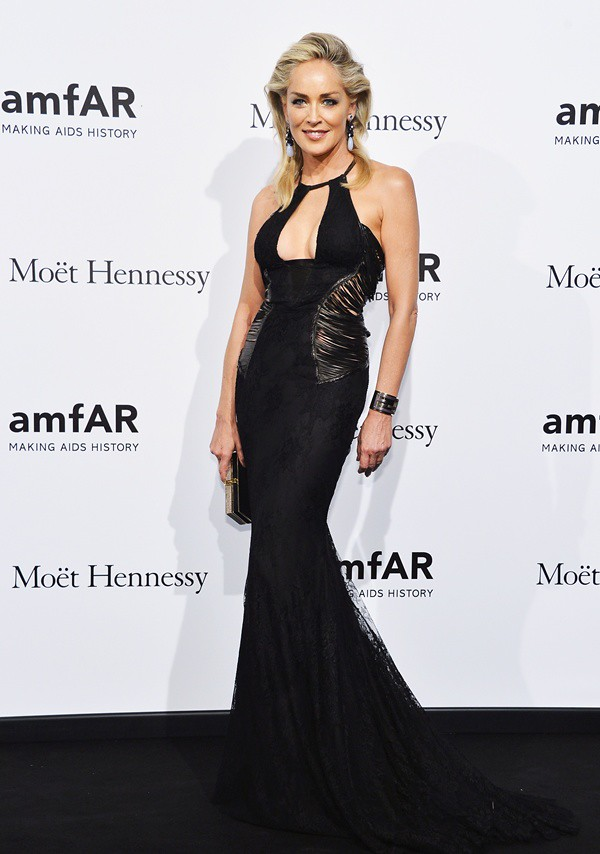 1 Sharon Stone in Roberto Cavalli at amfAR 22-09-2012 Milan
