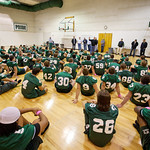 12-054 -- Members of the undefeated 1992 football team shared encouraging words with the current team after Friday's practice.