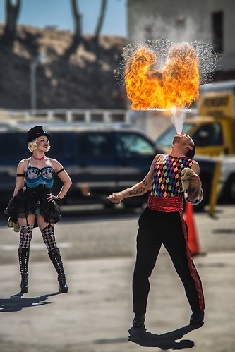 Firebreather and his assistant at Fort Mason Center, San Francisco (10-2012)-2 by joeeisner