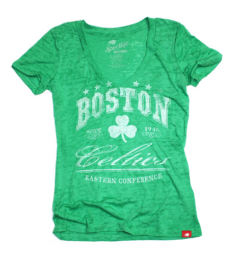 Boston Celtics Burnout V Neck Shirt By Sportiqe