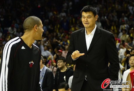 October 14th, 2012 - Yao Ming and Shane Battier meet in Shanghai before the Clippers-Heat exhibition game