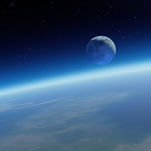 [フリー画像素材] 自然風景, 宇宙, 月, 地球 ID:201210221200