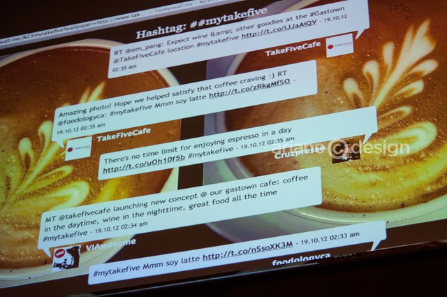 Take Five Cafe Gastown/#mytakefive Twitter wall