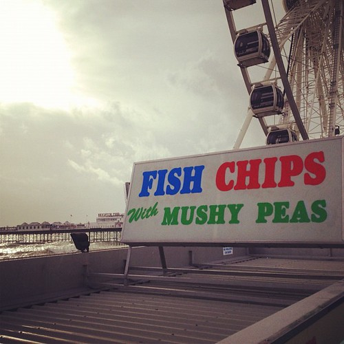 I've never been a fan of fish & chips. Mushy peas don't help convince me. #England