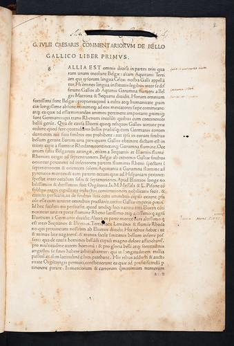 Title incipit of Caesar, Gaius Julius: Commentarii